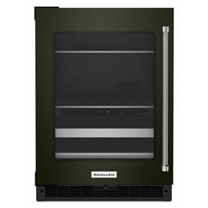 """KitchenAid24"""" Beverage Center with Glass Door and Metal-Front Racks - Black Stainless Steel with PrintShield™ Finish"""