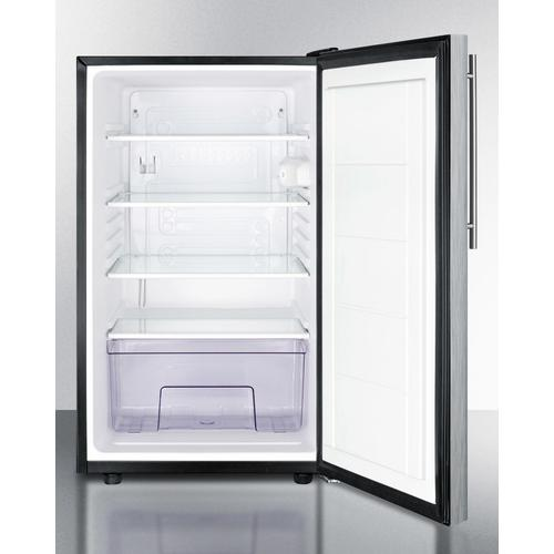 """Commercially Listed 20"""" Wide Counter Height All-refrigerator, Auto Defrost With A Lock, Stainless Steel Door, Thin Handle, and Black Cabinet"""