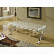 ACME Royce Bench - 96413 - Beige PU & Chrome Product Image