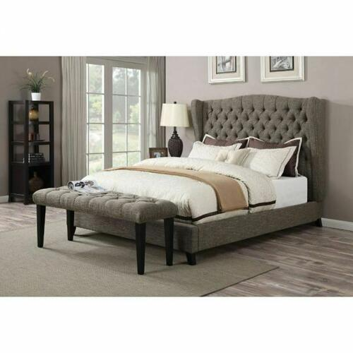 ACME Faye Eastern King Bed - 20897EK - 2-Tone Chocolate Linen