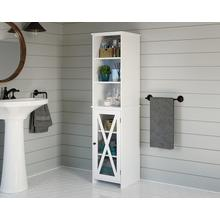 See Details - White Linen Tower for Bathroom Storage