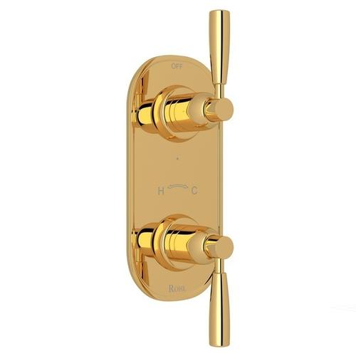 """English Gold Perrin & Rowe Holborn 1/2"""" Thermostatic/Diverter Control Trim with Holborn Metal Lever"""