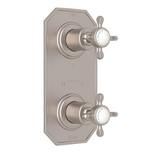 "Satin Nickel Perrin & Rowe Edwardian 1/2"" Thermostatic/Diverter Control Trim with Edwardian Cross Handle"