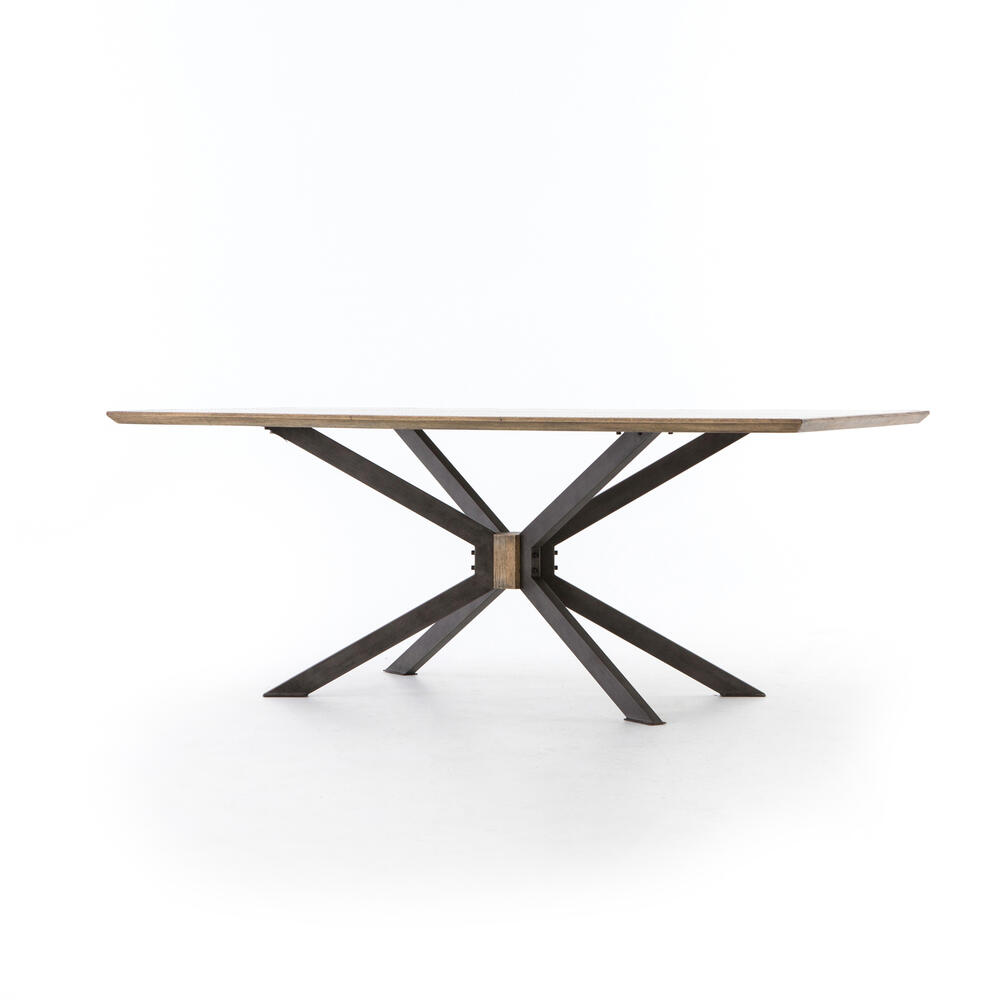 "Bright Brass Clad Finish 79"" Size Spider Dining Table"