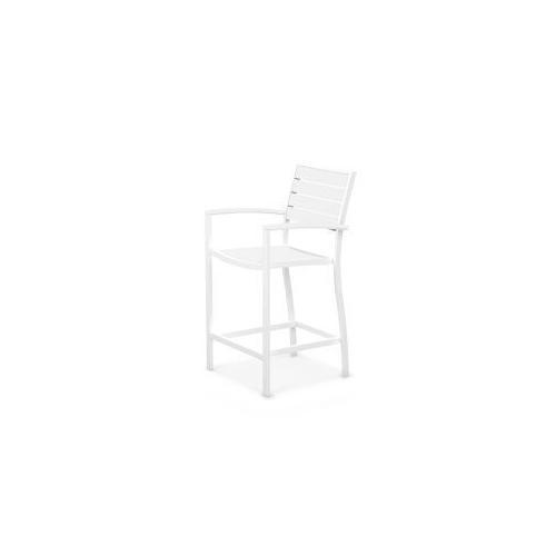 Polywood Furnishings - Eurou2122 Counter Arm Chair in Satin White / White
