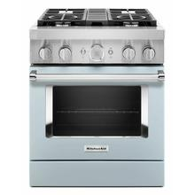 View Product - KitchenAid® 30'' Smart Commercial-Style Dual Fuel Range with 4 Burners - Misty Blue