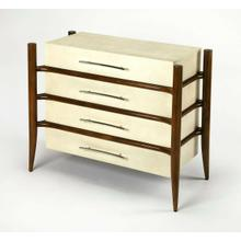 A contemporary take on Mid-Century Modern, this four-drawer chest is a spectacular addition in any space. Alluringly finished in dark caramel, the four corner tapered post frame exquisitely supports the drawers and their contents. Masterfully crafted from