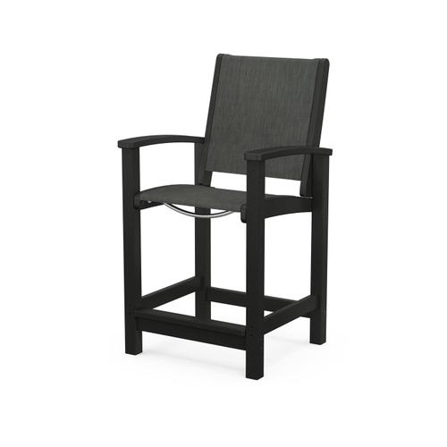 Coastal Counter Chair in Black / Ember Sling