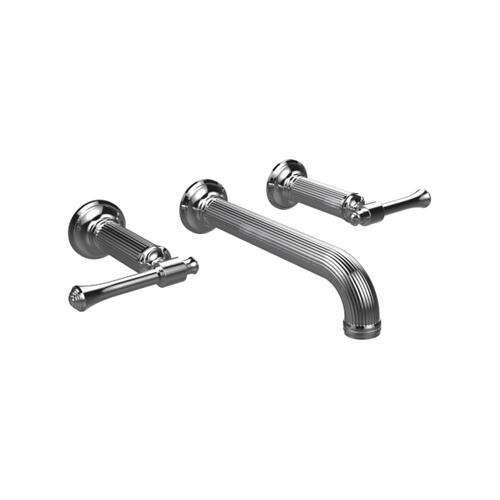 Wall Mount Widespread Lavatory Set in Standard Pewter