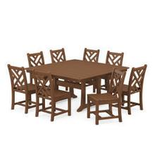 View Product - Chippendale 9-Piece Farmhouse Trestle Dining Set in Teak