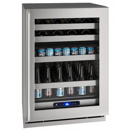"""U-Line - Hbd524 24"""" Dual-zone Beverage Center With Stainless Frame Finish and Right-hand Hinge Door Swing (115 V/60 Hz Volts /60 Hz Hz)"""