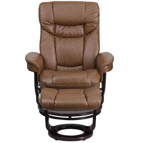 Alamont Furniture - Contemporary Palimino Leather Recliner and Ottoman with Swiveling Mahogany Wood Base
