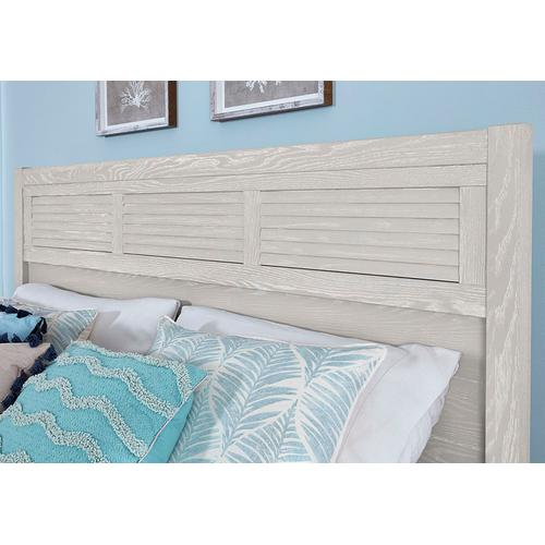 LOUVERED BED WITH LOW PROFILE FOOTBOARD IN OYSTER GREY