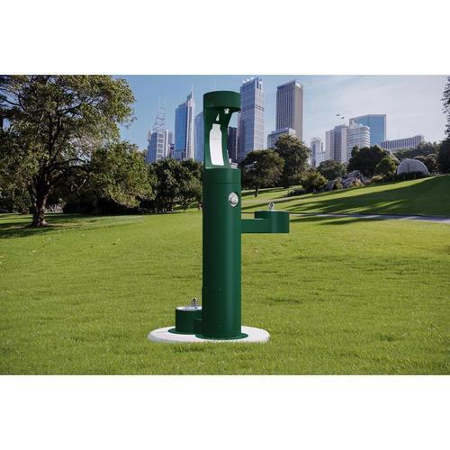 Elkay - Elkay Outdoor EZH2O Bottle Filling Station Bi-Level, Pedestal with Pet Station Non-Filtered Non-Refrigerated Evergreen