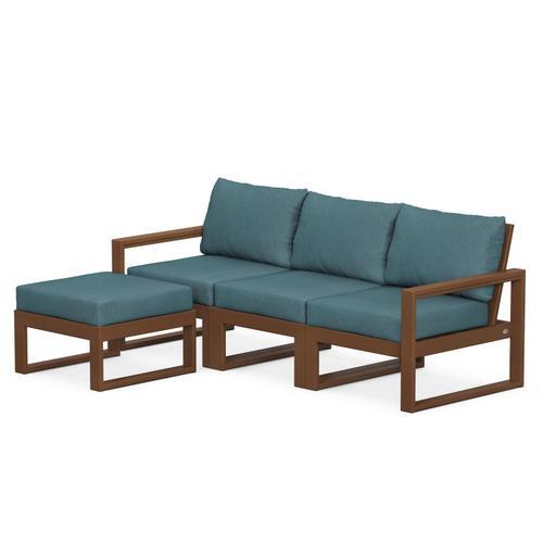 Polywood Furnishings - EDGE 4-Piece Modular Deep Seating Set with Ottoman in Teak / Ocean Teal