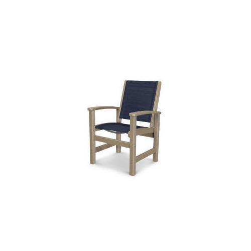Coastal Dining Chair in Vintage Sahara / Sapphire Sling