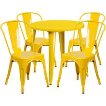 30'' Round Yellow Metal Indoor-Outdoor Table Set with 4 Cafe Chairs