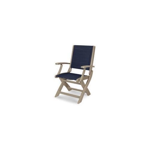 Polywood Furnishings - Coastal Folding Chair in Vintage Sahara / Sapphire Sling