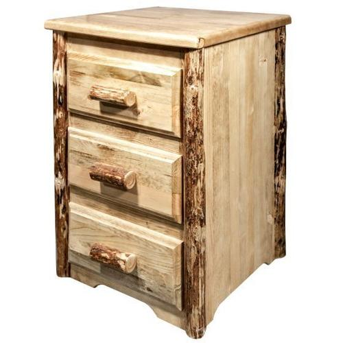 Glacier Country Collection Nightstand with 3 Drawers