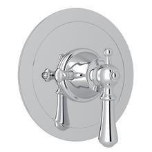 Polished Chrome Perrin & Rowe Georgian Era Round Thermostatic Trim Plate Without Volume Control with Georgian Era Solid Metal Lever