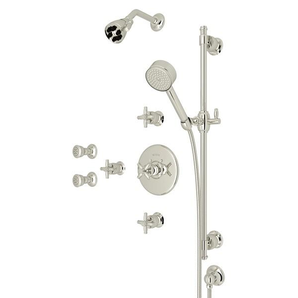 Polished Nickel ZEPHYR THERMOSTATIC SHOWER PACKAGE with Cross Handle Zephyr Series Only