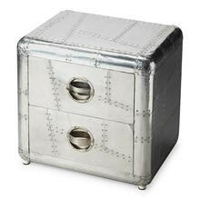 "Crafted from polished and riveting aluminum, this bold Chairside Chest provides two drawers for substantial storage. It shimmers for sure"" a brightest spot that absolutely will not be ignored."
