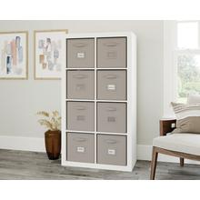 See Details - White 8-Cube Organizer with Fabric Bins