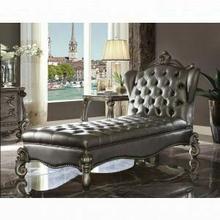 ACME Versailles Chaise Lounge - 96825 - Silver PU & Antique Platinum