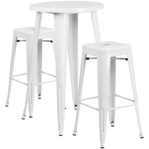 24'' Round White Metal Indoor-Outdoor Bar Table Set with 2 Square Seat Backless Stools