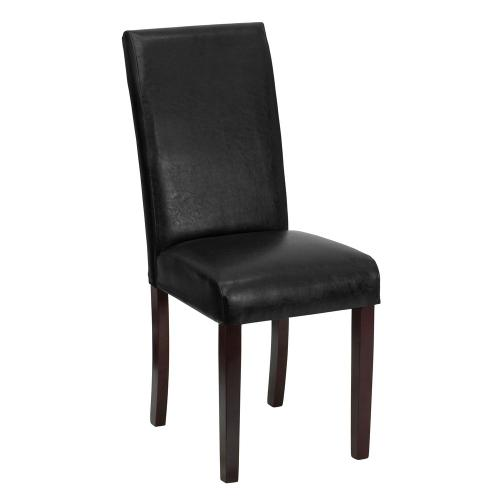 Black Leather Parsons Chair