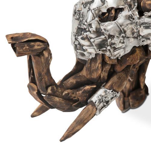 Amini - Wood Crafted Elephant W/aluminum, Small