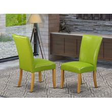 Alpine parson Chair with Oak Finish Leg and PU Leather color 01-Autumn green