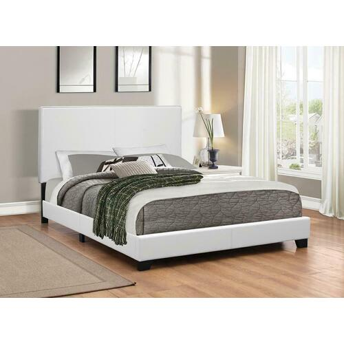 Mauve Upholstered Platform White Queen Bed
