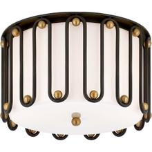 AERIN Molene 3 Light 15 inch Aged Iron and Gild Flush Mount Ceiling Light, Medium