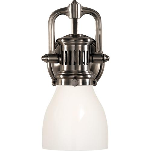 E. F. Chapman Yoke 1 Light 5 inch Antique Nickel Suspended Wall Sconce Wall Light in White Glass