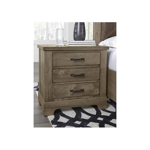 Artisan & Post Cool Rustic Maple 3 Drawer Nightstand in Stone Grey Finish