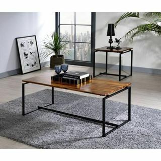 ACME Jurgen 3Pc Pack Coffee/End Set - 83240 - Industrial, Contemporary - Metal Tube (Steel), Wood (Solid Wood) - Oak and Black