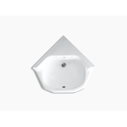 "White 16"" X 16"" Corner Wall-mount/shelf-back Bathroom Sink"