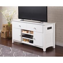 See Details - Nantucket 2 Drawer 50 inch Entertainment Console 26x50 with Adjustable Shelves and Charging Station in White