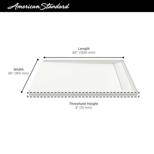 American Standard - Townsend 60x36-inch Solid Surface Shower Base - Right Drain  American Standard - Soft White