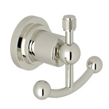 Polished Nickel Italian Bath Swarovski Crystal Wall Mount Double Robe Hook