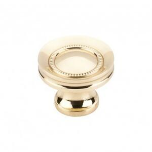 Button Faced Knob 1 1/4 Inch - Polished Brass