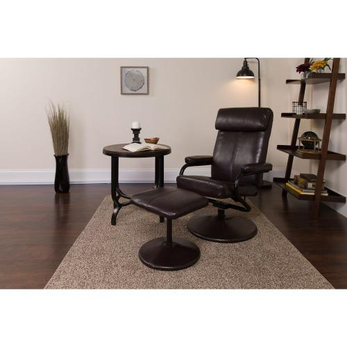 Contemporary Brown Leather Recliner and Ottoman with Leather Wrapped Base