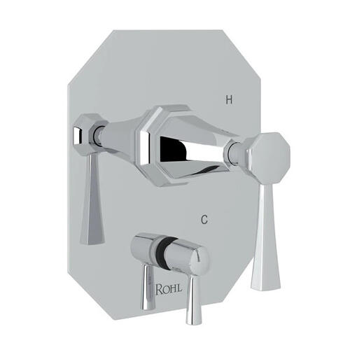 Deco Pressure Balance Trim with Diverter - Polished Chrome with Lever Handle