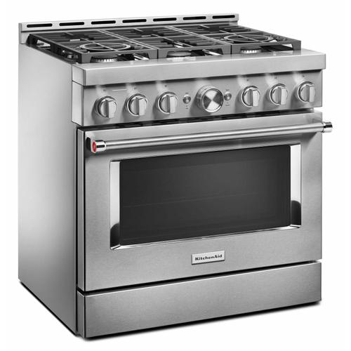 KitchenAid - KitchenAid® 36'' Smart Commercial-Style Gas Range with 6 Burners - Heritage Stainless Steel