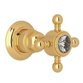 Trim for Volume Control and 4-Port Dedicated Diverter - Italian Brass with Crystal Cross Handle