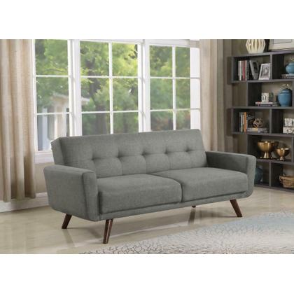 See Details - Mid-century Modern Grey and Walnut Sofa Bed