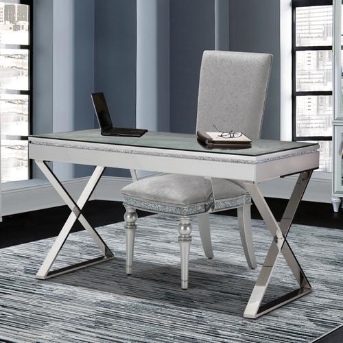Amini - Writing Desk W/glass Top