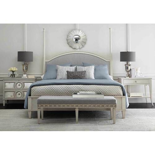 King-Sized Allure Upholstered Panel Bed in Manor White (399)