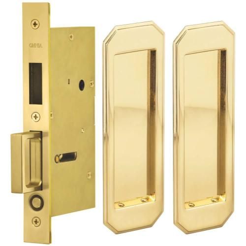 Pair Dummy Pocket Door Lock with Traditional Rectangular Trim featuring Mortise Edge Pull in (US3A Polished Brass, Unlacquered)